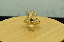 14K YELLOW GOLD FILIGREE DARK BLUE SAPPHIRE RING BAND SIZE 6.5 #X14-1445