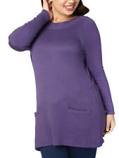 NEW ex Evans PURPLE Knitted Side Pocket Tunic Top sizes 12-14 to 30-32
