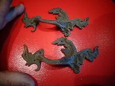 Paire d'Anciennes Poignées de Tiroir Secrétaire Bureau Meuble Bronze Louis XVI