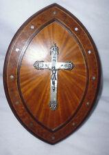 cadre Christ en croix crucifix nacre argent bois marqueterie incrustation argent