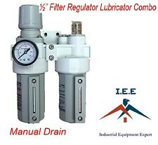 "2 Stages Filter Regulator Lubricator Combo 1/2"" NPT Manual Drain Metal Bowl"