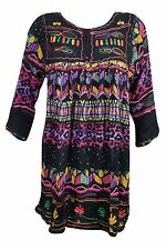 Hippie Gypsy Boho Chic Tunic Colorful Printed Button Front Ethnic Mini Dress M