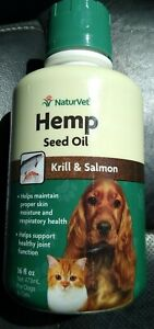 NaturVet Hemp Seed Oil Plus Krill & Salmon Joint Health Dogs Cats 16 oz Exp 2021