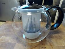 BODUM GLASS TEAPOT WITH INFUSER INSERT - BLACK & CLEAR GLASS