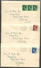 1936 KEVIII x3 FIRST DAY COVERS 1/9/36 with values to 2 1/2d to Whitby