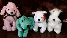 4) Retired Ty Beanie Babies, All Dogs Diddley, Brigitte, Kirby, and Poufie