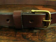 """Mens Thick 1 1/4"""" Smooth Brown Leather Gun Belt Brass Buckle Fits 42"""" Made/USA"""