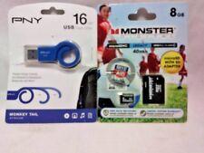 2 PACK PNY 16GB USB FLASH DRIVE & MONSTER DIGITAL 8GB MICRO SD FREE SHIPPING NEW