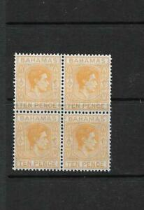 BAHAMAS, KGV1 1946 DEFINS 10d SG 154c, MNH BLOCK 4, CAT £10