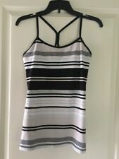 Lululemon Power Y White Grey Striped Cotton Spaghetti Strap Athletic Tank Top 6