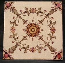 Antique Vintage Art Nouveau Ceramic Tile Signed D.T.B.