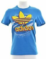 ADIDAS Womens Graphic T-Shirt Top Size 6 XS Blue Cotton  GA07