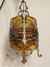 Antique/Vtg Gothic Medieval Tudor Crackle Glass Foyer Chandelier Light Fixture