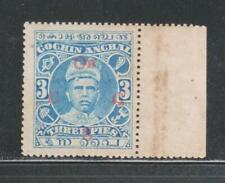 INDIA COCHIN STATE 1913, 3P BLUE SG01 MNH STAMP.