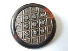 grand bouton ancien en résine écaille, métal et strass French buttons Années 30