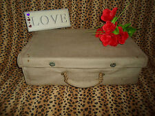 UNIQUE Canvas Covered Vintage Suitcase - This was Upcycled in the 1950's RETRO
