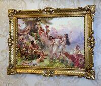 Bild mit Rahmen Gold 90x70 Happy Arkadia By Makowski Gemälde Wandbild Kunstdruck