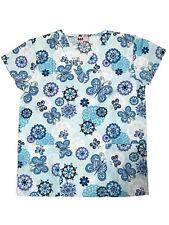 Womens Fashion Medical Nursing Scrub Tops Printed Light Blue Butterfly Flower XL