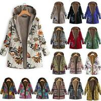 Women Ladies Winter Warm Floral Fleece Hooded Parka Coat Jacket Outwear Oversize