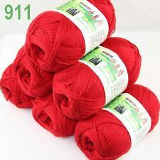 6BallsX50g Super new Worsted Natural Bamboo Cotton Knitting Yarn Christmas Red