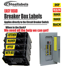 "Circuit Breaker Labels for Home and Shop Electrical Box ""Apply right to Switch"""