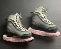 CCM SP 60 Woman's Grey, Pink, Black Figure Ice Skates Size 1 w/Blade Covers
