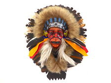 Native American Indian Head Wall Art Plaque Mask Real Feathers.....