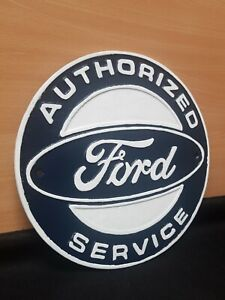 ** VINTAGE STYLE CAST IRON SIGN FORD AUTHORIZED SERVICE PLAQUE GARAGE MAN CAVE