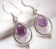 Amethyst Earrings 925 Sterling Silver Teardrop Hoop Dangle Drop Dot Accents New
