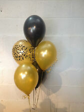 15 Leopard Print Black & Gold Pearlised Latex Balloons (Helium Quality)