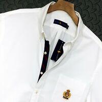 "⭐ Mens Polo Ralph Lauren embroidered crest emblem white shirt size XXL 48-50"""