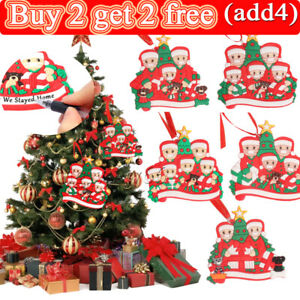 ADD Name 2020 Christmas PVC Tree Hanging Ornament Family Xmas Decor Personalized