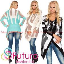 Womens Asymmetric Cardigan Thick Heavy Knitted Poncho Sweatcoat Size 8-14 MV139