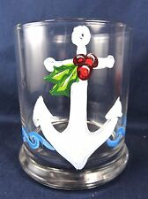 Holiday Anchor Rocks Glass Candle Votive Holder Home Decor
