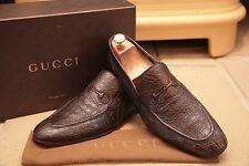 Gucci Men's Brown Crocodile Skin Horsebit Loafers Shoes Size UK 9