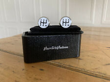 Nib Harvie & Hudson Savile Row Cufflinks Gear Shift Pattern 5 Speed Leather Box