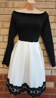 MISSI LONDON BLACK LONG SLEEVE BARDOT WHITE LACE TRIM HEM SKATER PARTY DRESS 16