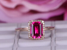 1.5ct Emerald Cut Pink Sapphire Solitaire Engagement Ring 14k Rose Gold Finish