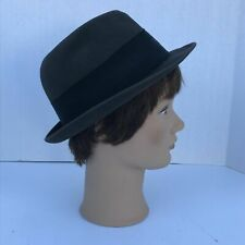Vintage Champ Fedora Hat Dark/Black With Band And Feather Size 7