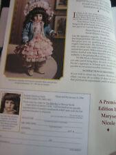Franklin Heirloom BEBE BRU Doll AD Maryse Nicole Advertisement ONLY
