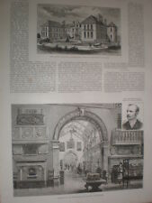 Birmingham Art Gallery and Museum 1885 old print and article