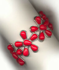 GENUINE♥ SEMI-PRECIOUS♥RED♥CORAL STONE♥BEADED CUFF♥BRACELET