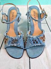 Bisou Bisou women's distressed denim beaded heeled strappy sandals light wash 8
