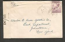 Canada Newfoundland Feb 1944 WWII PC90 DC/35 censor cover St Anthony to NY