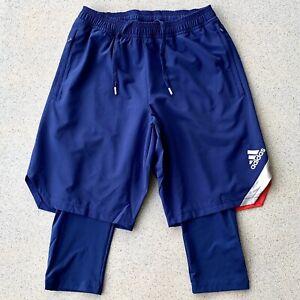 Adidas Mens New Sz Small Blue Tan Shorts Athletic Soccer Running Fitness FS5056