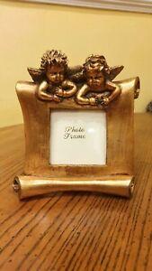 Beautiful Gold Gilt Scroll Design Angels Cherubs Free Standing/Wall Photo Frame