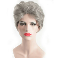 Women's Synthetic Short Curly Wavy Silver Grey Wig for Ladies Natural Hair wig