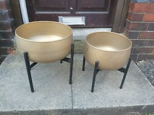 2 x soft Gold standing indoor planters from Cox&Cox