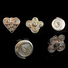 5 Shaped Button Covers Gold Colored Coiled Metal 1990s 3 Different Shapes