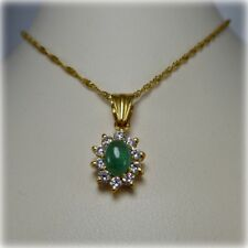 "22ct Gold Cabochon cut Emerald Pendant on 16"" Gold Chain"